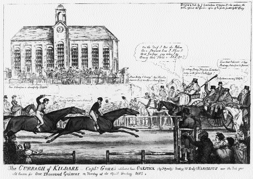 Capt. Robert Gore's 'Oakstick' wins the One Thousand Guineas at the Curragh in 1815. The Standhouse in the background, built before 1777, was to be used as a social centre for the military for many years. (National Library of Ireland)