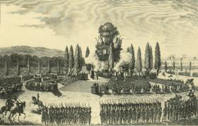 The Fête des Victoires on the Champ de Mars, in honour of the recent French victories in Italy, 29 May 1796—according to Tone, 'A superb spectacle … I was placed at the foot of the Altar in the middle of my brethren of the Corps Diplomatique [though he] chose to remain incognito'.