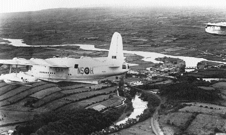 RAF Sunderland flying boats in 1945 over Beleek, on the Fermanagh/Donegal border, the last to avail of a flight corridor over Southern airspace under a secret 1941 agreement. (Ulster Aviation Society)