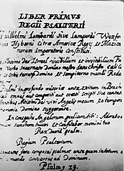 One of the hundreds of psalms written by Lombardo while in captivity