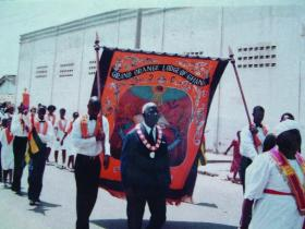 Banner of the Grand Orange Lodge of Ghana on a march in the late 1990s.