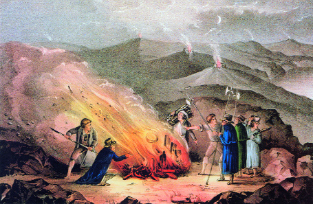 The signal fire on Slievenamon, County Tipperary-Thomas Francis Meagher and Michael Doheny addressed 50,000 people there on 16 July 1848. (Currier and Ives)