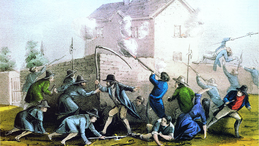 The attack on the Widow McCormack's house on Boulagh Common, Ballingarry, County Tipperary, 29 July 1848. (Currier and Ives)