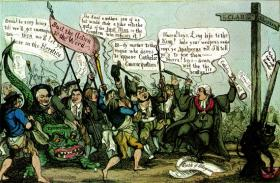 Contemporary cartoon of Daniel O'Connell and his followers waiting for Emancipation to loose the dragon of persecution on Protestant heretics. Catholics saw the power that collective agitation could generate. (Radio Times Hulton Picture Library)