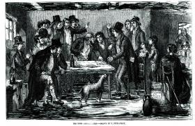 Generic image of an agrarian secret society being addressed by a schoolmaster. (Illustrated London News, undated)