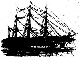The USS Macedonian arrived at Cork with food aid from New York in summer 1847. Local newspapers used the occasion to contrast the generosity of the United States with the meanness of the British government. (Illustrated London News, 7 August 1847)