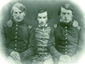 Sheridan (centre) and his friends Lt George Crook (left) and Lt John Nugent (right) at the West Point graduation of 1852. His career at West Point was undistinguished except for a massive accumulation of demerits, mostly awarded for fighting. (West Point Museum)