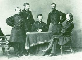Sheridan with his staff in 1865, including his favourite, George Custer (right). (National Archives, Washington DC)