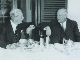 British prime minister Harold Macmillan in conversation with South African prime minister Hendrick Frensch Verwoerd in the course of his 1960 tour of Africa. (Macmillan Archives)