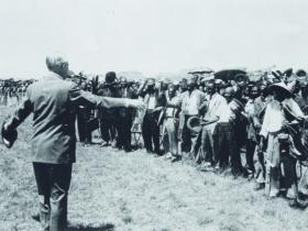 Macmillan visits Basutoland (later to become independent Lesotho) on his 1960 tour. (Hulton Picture Company)