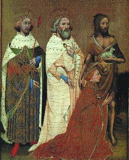 Wilton Diptych, painted c.1395–9. Richard II is depicted as a much younger man, kneeling before his three favourite saints (left to right)-St Edmund the Martyr, St Edward the Confessor and St John the Baptist.