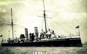 sister-ship Pelorus, which Pandora relieved at Jamestown, St Helena, 8 November 1908.
