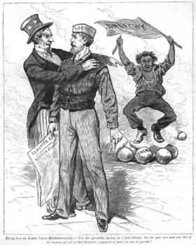 Uncle Sam (to Labor Party Representative)—'You did splendidly, my boy, for a first attempt; but, for your own good and that of the country, get rid of that dangerous companion of yours as soon as possible.' Anarchists were commonly depicted as a dangerous menace, leading workers astray, as in these late nineteenth-century American cartoons.