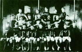 The first known photograph of O'Duffy (extreme right) as a young GAA activist with Monaghan's 1914 hurling team. (Monaghan County Museum)