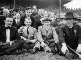 O'Duffy (second left), who throughout his career was always active in the GAA, enjoys a match in the early 1930s. (National Library of Ireland)