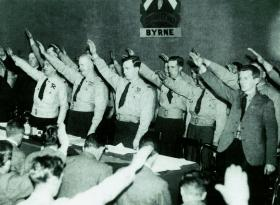 O'Duffy and followers give the raised-arm salute, c. 1933. (National Library of Ireland)