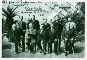O'Duffy poses with members of the Committee of Action for the Universality of Rome (CAUR), a 'fascist international' including the leaders of the Austrian Heimwehr, the Norwegian Nasjonal Samling, Romanian Iron Guard and Spanish Falange, at a meeting in Montreaux in 1935. O'Duffy was appointed to its international secretariat.