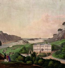 Painting of Derrynane House, O'Connell's country seat in County Kerry, in the 1830s. (National Library of Ireland