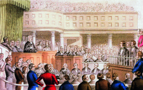Sentence is passed on Thomas Francis Meagher, Terence B. McManus and Patrick O'Donoghue (standing in the dock to the right) at their trial at Clonmel, 22 October 1848. (Currier and Ives)