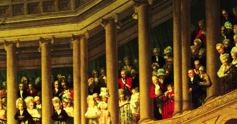 A striking feature of the painting is the presence of women in the gallery. One is dressed in a Volunteer uniform, while others appear to be wearing Volunteer colours in their dresses or hats. (Leeds Museum)