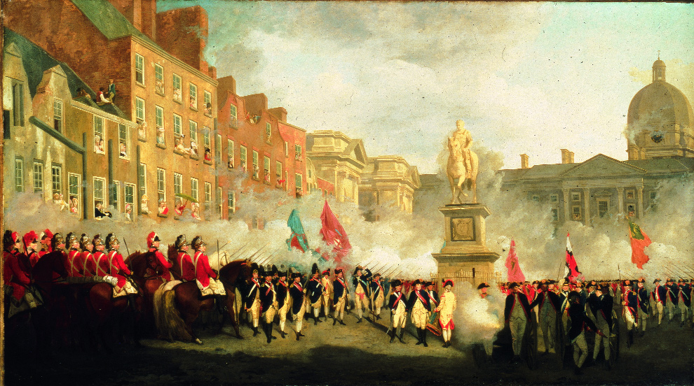 The Dublin Volunteers on College Green by Francis Wheatley. (National Gallery of Ireland)