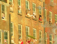 Detail showing women in the windows overlooking College Green wearing Volunteer colours, one in a Volunteer uniform. (National Gallery of Ireland)