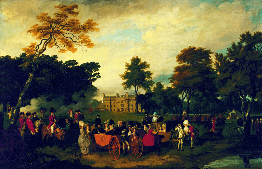 In this Wheatley painting of the Stafford family at Belan House, the dowager Lady Adleborough (mounted, in red) is dressed in a colonel's uniform. (Waddesdon, Rothschild Collection)