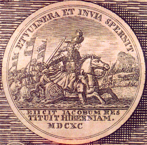 'He scorns wounds and rough paths'-a contemporary commemorative medal depicting William crossing the Boyne.