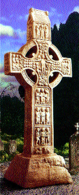 Muiredach's High Cross, Monasterboice, Co. Louth, a few miles beyond Mellifont. It is likely that Dervorgilla stood before it and perhaps pondered all that had happened since her youth, which she spent in the shadows of another high cross in faraway Durrow. (Shournagh Designs)