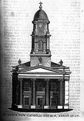 St Paul's as illustrated in the Catholic Penny Journal, 10 January 1835. Unlike the church that was actually built, the columns are fluted and the front doors of equal size.