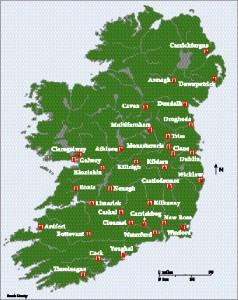 Franciscan foundations in Ireland, thirteenth– fourteenth centuries. (Sarah Gearty)