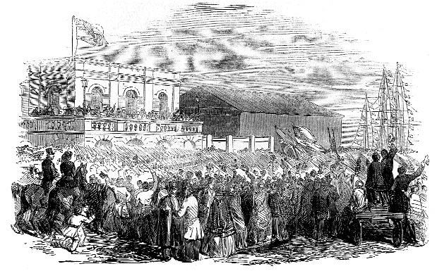 The 50th Foot, the first to leave for the Crimea, marching through Kingstown (Díºn Laoghaire) on their way to board the troopship Cumbria on 24 February 1854. (Illustrated London News, 4 March 1854)