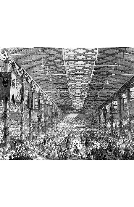 The Dublin Grand Crimean Banquet, 22 October 1856-5000 soldiers, seamen and guests gathered in a bonded warehouse (Stack A, Customs House docks) to celebrate the end of the war. (Illustrated London News, 8 November 1856)