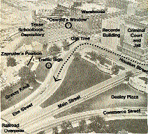 Aerial photo of Dealey Plaza used by the Warren Commission.