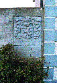 Armorial plaque of the O'Molloys of Ferceall with a dedication dated 1684, Derrydolney, Kilcormac, Co. Offaly.