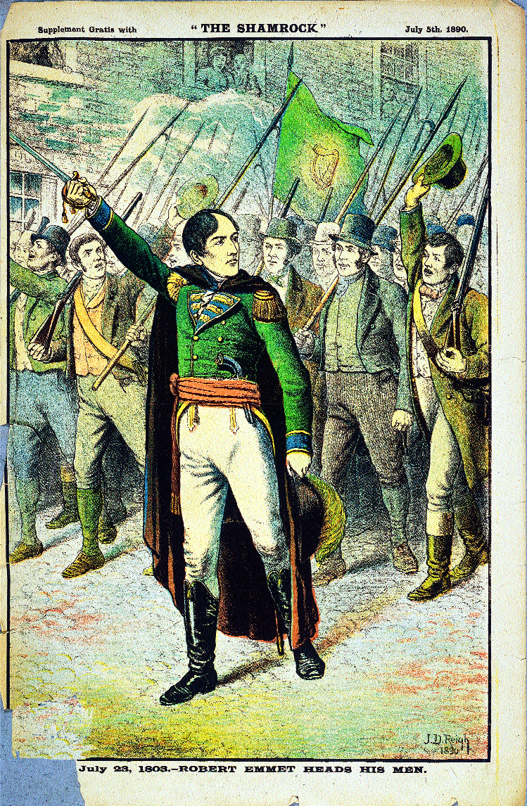 July 23, 1803. Robert Emmet heads his men by J.D. Reigh. (Shamrock, 5 July 1890)