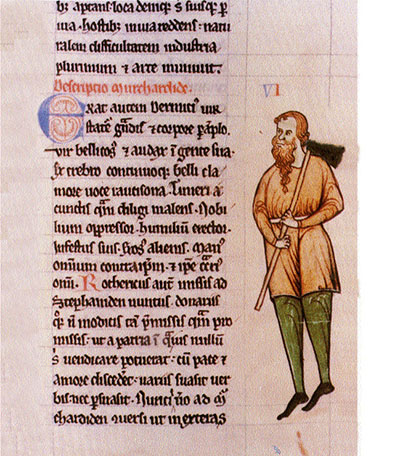 Diarmait McMurrough, king of Leinster, as depicted in the margins of Giraldus Cambrensis's Expugnatio Hibernica. (National Library of Ireland)
