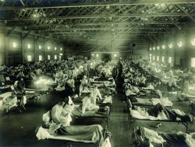 Emergency influenza hospital at Camp Funston, Kansas, USA, in 1918. (National Museum of Health and Medicine, USA)