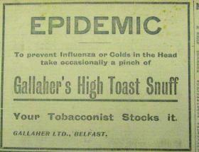 Gallagher's snuff ad (Belfast Newsletter, June/July 1918).