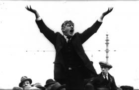 Jim Larkin addressing a meeting in Dublin shortly after his return from the USA late in 1923.