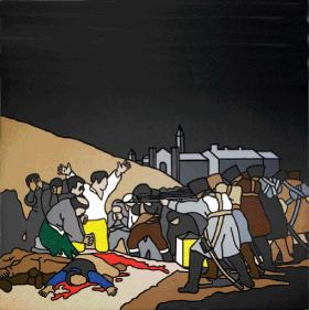 Robert Ballagh's 1970 painting, The Third of May After Goya, inspired by the events of August 1969. (Dublin City Gallery, The Hugh Lane)