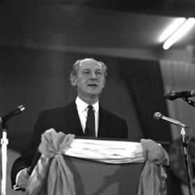 Taoiseach Jack Lynch at the Fianna Fáil Árd Fheis in January 1970—when he left Dublin on 9 August 1969 to begin his holidays in West Cork little did he realise how difficult it was going to be to maintain party discipline and respect for cabinet government. (RTÉ Stills Library)