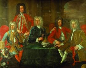 James Worsdale's painting of the Hell-Fire Club, Dublin. Mrs Pilkington's triumph was to catch the attention of the leisured gentlemen who frequented such clubs. (National Gallery of Ireland)