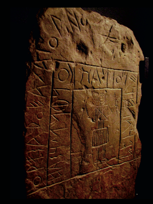Tartessian inscription and warrior stela from Abóbada, Portugal. (Jane Aaron)