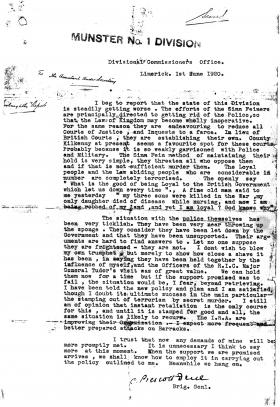 The Prescott-Decie letter of 1 June 1920 can be found in Crime Special Branch Other Papers, Box 24, National Archives of Ireland. No related material accompanies the one-page document, which appears to have become separated from a larger administrative file and left behind during the evacuation of Dublin Castle in 1922. (NAI)