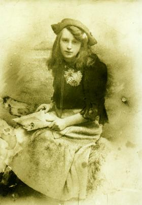 Catherine Moran aged 16, c. 1910—she later married Lance Corporal Charles Heatley (pictured below) of the Royal Dublin Fusiliers, who was killed on the first day of the Battle of the Somme in 1916—and her death certificate of 4 November 1918. She died from influenzal pneumonia in her parents' house in Nicholas Street, with her three young sons at her bedside. (NAI)