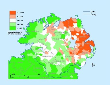 Non-Catholics as a percentage of the Ulster population according to the 1911 census. (Sarah Gearty)
