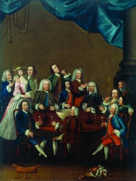 James Worsdale's painting of the Hell-Fire Club, Limerick, which includes a self-portrait of the artist—the short man far left making eyes at the woman. Mrs Pilkington claimed that Worsdale tried to seduce her. (National Gallery of Ireland)