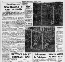 The match report in the Irish Times, 20 October 1955. No mention was made of the controversy surrounding the game.