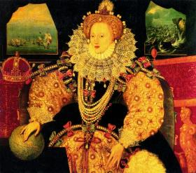 Elizabeth I—although she was excommunicated by Pope Pius V in 1570, it was not until the 1580s that Philip II resolved to topple his erstwhile ally from the English throne and to vest Ireland's sovereignty in a Continental prince. (National Portrait Gallery, London)